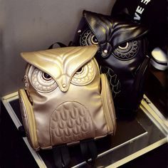 Gothic Design Owl Pu Leather Backpack