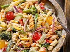 Creamy Poolside Pasta Salad. One woman said she uses Ceasar dressing and feta cheese