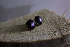Cabochon Ohrstecker - purple von Le petit bouton auf DaWanda.com