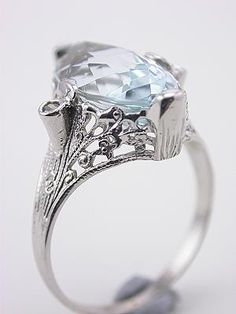 1930s Aquamarine and Filigree Cocktail Ring----->engagement ring.