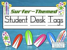 These fun student desk tags will look great in your surfing, beach, or ocean-themed classroom. There are eight different designs with the alphabet ...