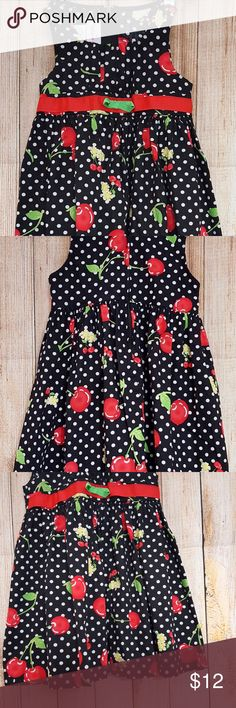 Ashley Ann Girls Dress Sleeveless Jumper Black Red Ashley Ann Girls 24 Months Dress Sleeveless Jumper Black Red Polka Dot Cherries. Size 24 months. Back zip closure. 100% cotton. Gently used condition with no flaws. Please see photos for details. Ashley Ann Dresses