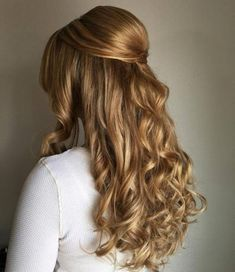 Half Updo With A Chunky Waterfall Braid Down Curly Hairstyles, Up Hairdos, Wedding Hairstyles Half Up Half Down, Half Up Half Down Hair, Wedding Hair Down, Formal Hairstyles, Simple Hairstyles, Bridal Hairstyles, Curly Prom Hair