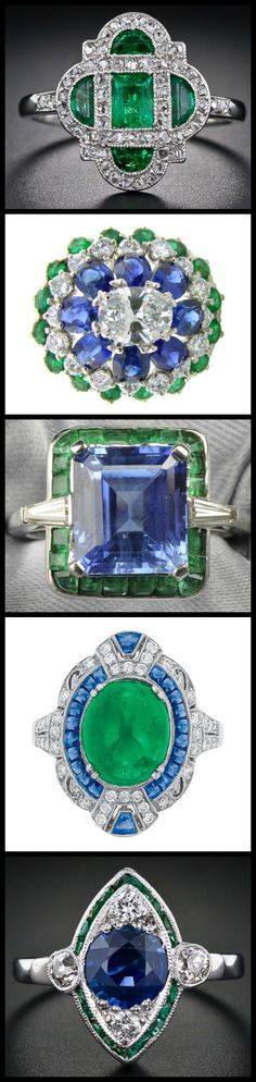 "This blog post is called ""emeralds with friends"" and it's all about the admiration of vintage and antique rings that feature emeralds looking amazing alongside other gemstones like diamonds and sapphires. Via Diamonds in the Library."