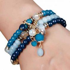 Aaishwarya Shades Of Blue Beaded Bracelet Set #bracelet #braceletset #beadedbracelet