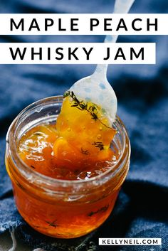 Maple Peach Whisky Jam - - This small batch peach jam recipe yields about one pint of jam! Whisky and fresh thyme balance the sweetness of the peaches and maple syrup. Whisky, Canning Peaches, Peach Syrup, Sauces, Jelly Recipes, Peach Jam Recipes, Homemade Jam Recipes, Peach Preserves Recipe, Jam And Jelly