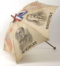 Patriotic umbrella for President McKinley,#25, VP, Teddy Roosevelt campaign.