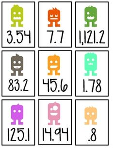 Here's a set of decimal cards for use in ordering decimals and decimal computation.