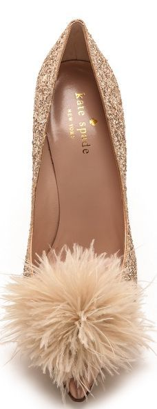 Kate Spade feather & glitter high heels - perfect shoe for any formal occasion. Gorgeous and fun!