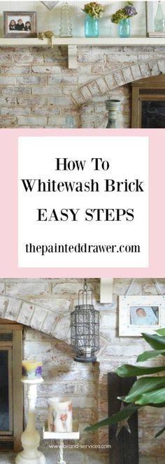 How to Whitewash Brick Using Chalk Paint - Easy DIY