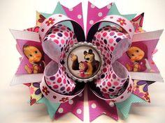 "Masha and the Bear Handmade Boutique Stacked Bottle Cap Hair Bow 5.0"" x 4.5"" #JOYJOEYKANGAROOHandmade"