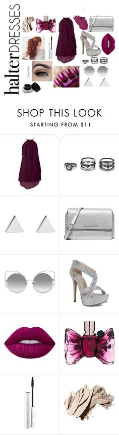 """Halter Dress"" by maryamemara ❤ liked on Polyvore featuring LULUS, Jennifer Meyer Jewelry, Michael Kors, Marc Jacobs, Lime Crime, Urban Decay, Viktor & Rolf, MAC Cosmetics, Bobbi Brown Cosmetics and halterdresses"