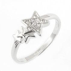 White GP Star Ring Swarovski Crystal R676W