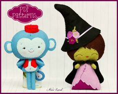 PDF. The wicked witch of the west and the flying monkey. Oz pattern. Plush Doll…
