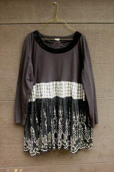 Boho Shabby Chic Plus Size Shirt, Junk Gypsy Style