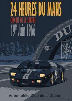 24 Heures Du Mans Circuit De La Sarthe, GT40 A3 Poster by Simon May