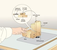 """Height gauge.  """"...drill a 3⁄16"""" hole, 3⁄4"""" deep in one side of the dovetail to fit a ballpoint pen spring and a small dowel. This gives the gauge a friction-fit to hold it at a set height.""""    —Junior Strasil, Falls City, Neb. Woodworking Table Saw, Woodworking Saws, Router Projects, Fun Projects, Relaxing Art, Ballpoint Pen, Gauges, Helpful Hints, The Help"""