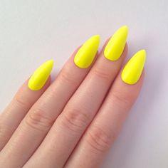 Matte Neon Yellow Stiletto nails, 20 Stiletto Nails, Nail designs,... ($20) ❤ liked on Polyvore