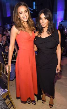 Kim Kardashian & Jessica Alba from The Big Picture: Today's Hot Pics  The brunette beauties strike a pose during the 20th Annual Webby Awards at Cipriani Wall Street in New York City.