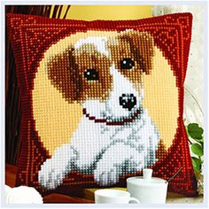 Excellent DIY kit for parent-child activities Kit Includes: Needle, drawing, wool, canvas Size: 40 cm X 40 cm *discount code available for orders suited for pa Cross Stitch Pillow, Mini Cross Stitch, Cross Stitch Charts, Cross Stitch Designs, Cross Stitch Patterns, Cat Cross Stitches, Cross Stitch Embroidery, Cushion Embroidery, Pillow Mat