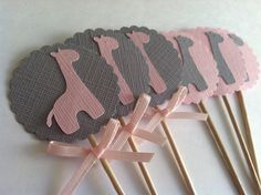 Items similar to 20 Pink and Grey Giraffe Cupcake Toppers with Satin Bow. Cupcake Decoration, Food Pick, Sandwich Picks on Etsy Giraffe Cupcakes, Giraffe Party, Giraffe Birthday, Pink Giraffe, Baby Shower Giraffe, Sophie Giraffe, Fiesta Baby Shower, Baby Girl Shower Themes, Baby Shower Favors