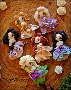 la petite deco' - little ladies Polymer Clay Figures, Cute Polymer Clay, Polymer Clay Dolls, Cute Clay, Polymer Clay Projects, Polymer Clay Charms, Polymer Clay Creations, Diy Clay, Polymer Clay Jewelry