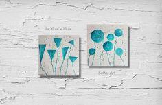 Acrylmalerei - Acrylbild auf Papier**Kugelblumen/Blumen Unrund** - ein Designerstück von SoMa-Art bei DaWanda