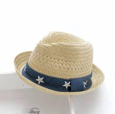 Beige straw jazz hat for kids star design summer beach sun hat ad7fb5b941d6