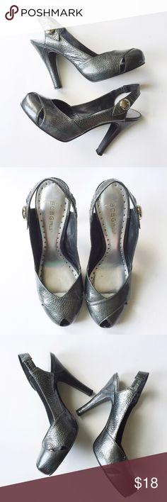 "BCBG Slingback Heels BCBGirls Slingback Stilletto Heels • SZ 7.5 • Peeptoe • Elastic slingback strap around ankle • Heel height: 4.5"" • Color: Charcoal Gray • Excellent condition BCBG Shoes Heels"
