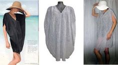 """Sewing tutorial: Sew a 90 minute beach cover up      (Warning: Lengthy post with many photos follows)    Ditch the t-shirt this summer in favor of a bit of glamour with this oversized beach cover-up.    The inspiration for this cover up came from a Neiman Marcus mailing. When I saw this black polyester caftan my first thought was """"oh, how cute"""" followed by """"I can sew that for a lot less than $120!""""    You can too. Why spend big bucks when you can sew one that's unique to you in 90 minutes or…"""