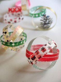 簡単マスキングテープのクリスマスオーナメントの作り方|その他|アート・雑貨|アトリエ|手芸レシピ16,000件!みんなで作る手芸やハンドメイド作品、雑貨の作り方ポータル