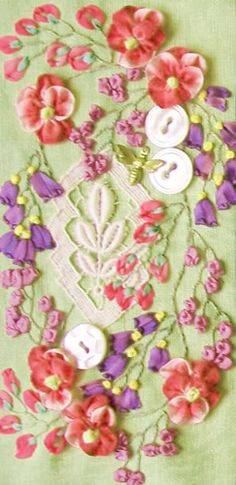 silk ribbon embroidery with ribbon worked flowers and leaves...buttons