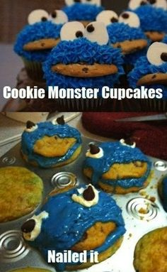 Cookie Monster Cupcakes: NAILED IT! craft fail LOL! pinning this at 3 am and trying not to wake my kids with laughter! SO ME!     http://eclipcity.com