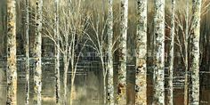 Waiting for Snow by Tatiana iliina, Canvas print of original impressionist palette knife forest