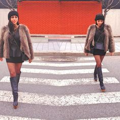 #fabulous #black #furjacket #skirt #fashion #style #outfit #fashionable #skirt