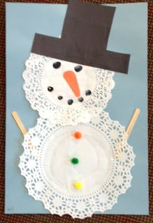 Doily Snowman:  The kids glued two different shaped doilies to form a snowman.  Using popsicle sticks, the added the arms and using thumbprints, they made the eyes and mouth.  They finished it off with a carrot nose, pom poms for buttons and a bow for a girl and a hat for a boy.
