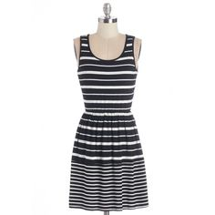 ModCloth Sleeveless A-line Sundial Be There Dress featuring polyvore fashion clothing dresses apparel fashion dress varies black and white dresses black and white stripe dress black and white striped dress white and black striped dress white and black dresses