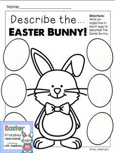 Describe the Easter Bunny - write an adjective in each egg to describe the Easter Bunny