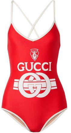 b2002cfcd3 Gucci - Printed Swimsuit - Red... swimwear  swimsuit  swimming  swim   bathingsuit  summerwear  beachwear  summerfashion  fashionblogger   fashionblog ...