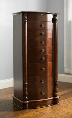 Hives & Honey Louis Jewelry Armoire Walnut, Brown
