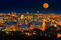 Montreal Skyline and Supermoon Composite