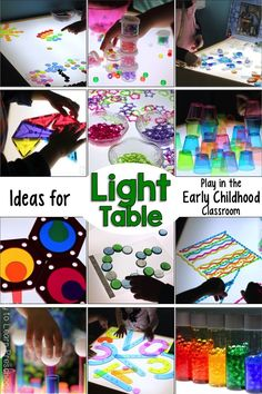 Preschool S Light Table Activities, All of Play to Learn Preschool's light table activities and ideas in one convenient place for you! via Play to Learn Preschool. Science Activities For Toddlers, Preschool Science, Preschool Classroom, Preschool Activities, Classroom Ideas, Preschool Behavior, Preschool Playground, Preschool Schedule, Kid Science