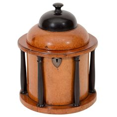 Unusual Biedermeier Architectural Tea Caddy in fruitwood with ebonized details. Germany, early 19th century.