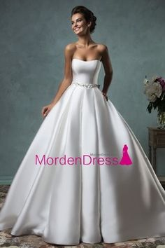 2016 A Line Strapless With Beads And Bow Knot Satin Chapel Train Wedding Dresses US$ 209.99 MDPF26G64Q - MordenDress.com for mobile