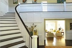 Oak treads stained, pine risers painted white