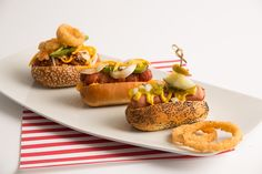 How fun and delicious! These Mini Chicago style, Texas chili and ballpark hot dogs were made by City Club Fort Worth. Photo taken by Joseph Mark Photography. Venue: Nuvo Room. #wedding #foodstation