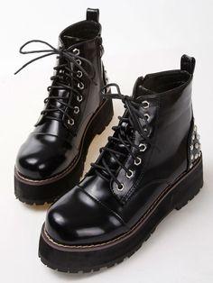 Botas con cordón heavy bottomed -negro 35.70