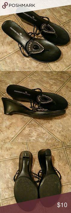 Montego Bay Jeweled Black Sandals Worn once. MONTEGO BAY , black Jeweled wedge Sandals. Sz 6 1/2 Montego Bay Shoes Sandals