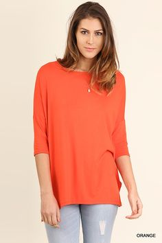 Round Neck 3/4 Sleeve Top with High Low Hem    Casual and Soft    Small-Large | Shop this product here: http://spreesy.com/ddstallons/92 | Shop all of our products at http://spreesy.com/ddstallons    | Pinterest selling powered by Spreesy.com