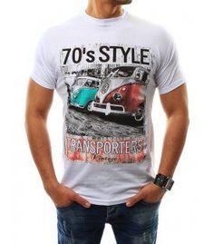 4184dc6dce054 Biele pánske tričko s potlačou Camisetas Masculinas